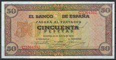 Spain - 1x 50 pesetas 1938 and 1x 100 pesetas 1938 - Pick 112 and 113