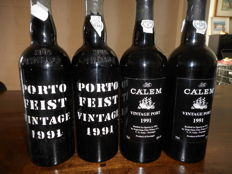 1991 Vintage Port: 2x Calem & 2x Feist - 4 bottles in total