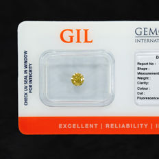 Natural Fancy Greenish Orangey Yellow Diamond – 0.39 ct Si2