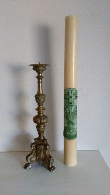 Extra large altar candlestick with candle - Belgium - late 19th century - 64 cm high