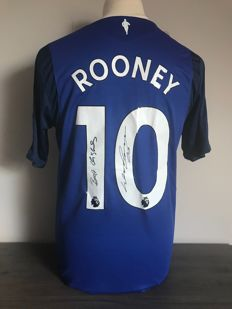 Wayne Rooney signed Everton Fc home shirt 2017 - 2018 with photo of the signing time and COA