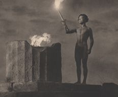 Leni Riefenstahl (1902-2003) - The Torch is Lit, taken at the 1936 Olympics