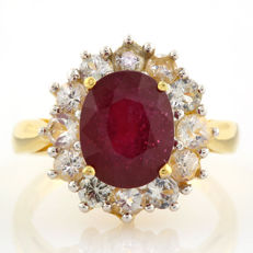 14K Yellow  Gold Ring with 3.0 ct Ruby and 12 White  Topaz 1.73ct  in total  - US size 7.5