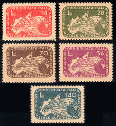 Lieutenancy 1945 - CORALIT,  Cyclist on Map, complete series of 5 stamps - Sass. Nos.  8-12