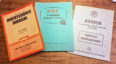 Maintenance booklets of GMC, Austin and BMC from the 1940s and 1950s