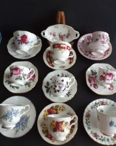 English porcelain cups and saucers - 19 Pieces - Royal Albert, Royal Windsor, Royal Stafford and a dish by Royal Albert.