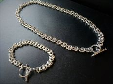 925 silver set of necklace and bracelet with heavy faceted links - 45.5 and 20.5 cm in length
