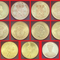 Netherlands - ducat, 10 guilders and 100 guilders 1875/1978 Willem III through Juliana (10 coins and 1 medal) - gold