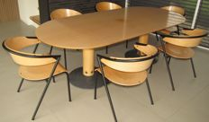 Arnold Merckx for Arco - Large dining table Diabolo and 6 matching chairs