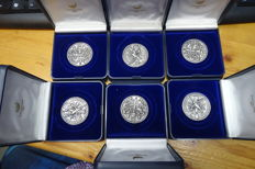The Netherlands - 6 shutter medals 2000 'Replica of the Brotherhood of Saint Sebastian in Middelburg (the Netherlands) - silver