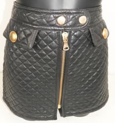 D&G Dolce & Gabbana designer black short leather skirt new without labels KOF@