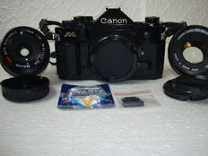 Canon A1 body + Canon 50 mm F1.8 + 28 mm F2.8 Panagor + accessories (1982)