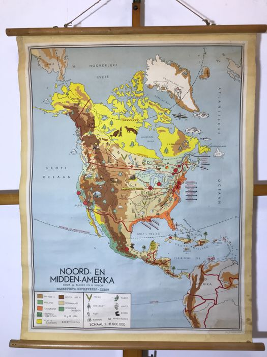 Old school poster map North & Central America