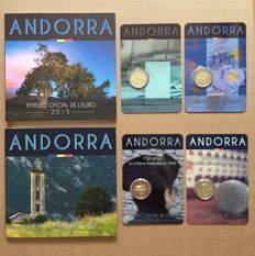 Andorra - 2 x Year packs + 4 x 2 Euro in coin card/blisters 2014/2015