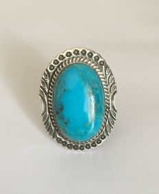 Sterling silver ring with turquoise - 21 gr - 19 mm (adjustable)