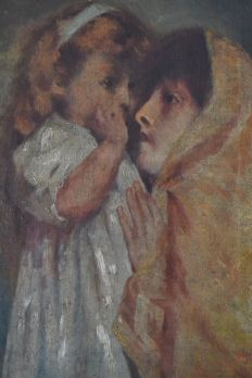 Portugese School 19th/20th C. - signed Angélica - Sharing secrets with mommy