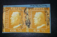 Sicily, stamps from 1859 - Fragment with pair of orange Half Grano, second table - Sassone No. 2