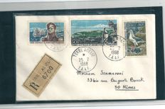 France - French Southern and Antarctic Lands 1968 - Registered mail Adélie Land to France - Maury no. 27/28/PA no. 14