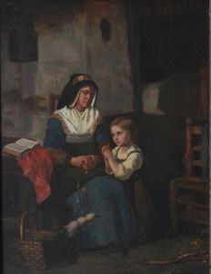 "Unknown (19th Century) ""Girl Praying on Mom's Knees"""