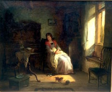 European School 19th Century - The afternoon nap