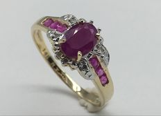 14k Yellow  Gold Ring with diamonds 0,03 ct and  Ruby - Ring Size: US 7