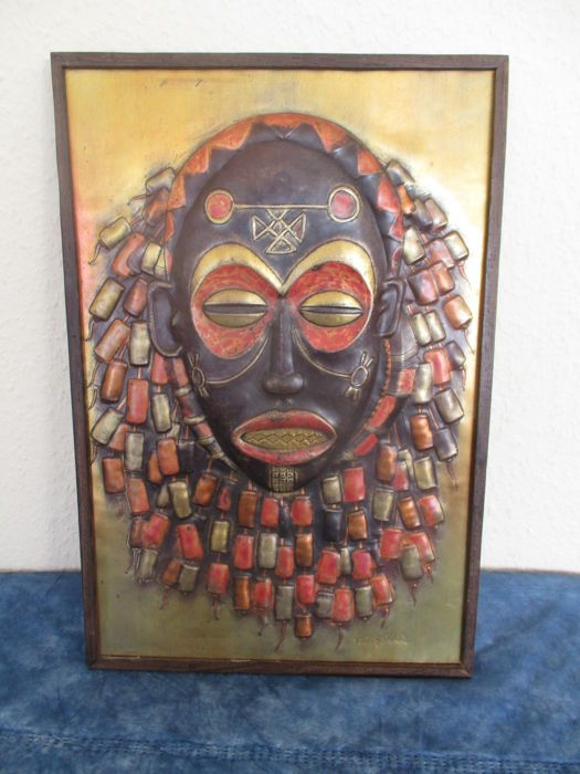 Relief of an African Mask on Wood. Patinated Copper - CHOKWE - D.R.. Congo