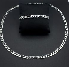 925 Silver Necklace & Bracelet Set, Necklace 60cm, Bracelet 21cm,Total weight 55g