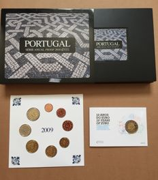 Portugal - Year pack 2010 in case + Year pack 2009 in blister + 2 Euro 2012 (Ten years Euro) in coin card