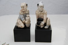 1 pair of figurines, China around 1900/1920, ivory