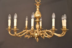 Big beautiful antique bronze chandelier/luster, France, early 20th century