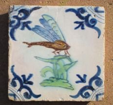 Antique tile with polychrome dragonfly (Willem Jansz Verswaen)