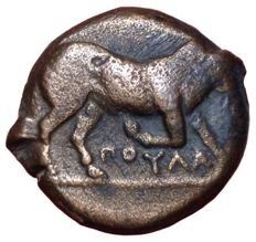 The Greek Antiquity - Northern Apulia, Arpi c. 275-250 BC - Æ (Bronze, 20mm, 7,83g.) - Bull / Horse - Rutter HN Italy 645; SNG ANS 640-5