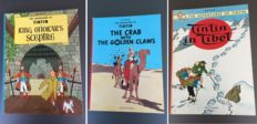 Tintin - King Ottokar's Sceptre + The Crab with the golden claws + Tintin in TIbet - 3x hc - herdruk (1967-1972)