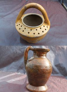Jug, red baked earthenware, 17th century + pot earthenware 19th century