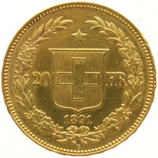 Switzerland – 20 Francs 1891 B (Bern) – gold