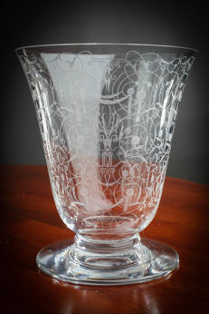 White crystal Baccarat vase Michel Angelo, engraved  decorations signed, France, 20th century