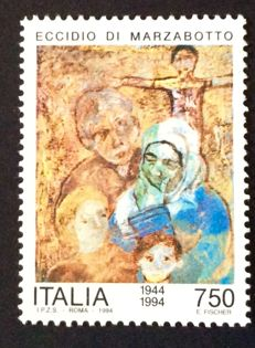 Republic of Italy 1994 – Marzabotto massacre – various ages, incomplete printing of the blue colour