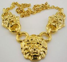 Kenneth Jay Lane Gold Plated Lion Head Necklace