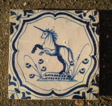 Antique tile with a special depiction of a unicorn