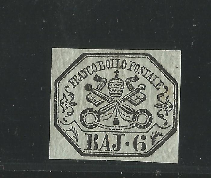 Papal States, 1852 - 6 Baiocchi - Greenish Grey - Sassone No. 7