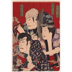 Original woodblock print by unidentified Meiji artist (possibly Toyohara Kunichika) - Three street toughs - Japan - ca. 1880