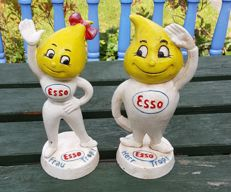ESSO - Cast iron oil drop man and oil drop woman  / Frau & Herr Tropf