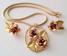 KREMENTZ 14kt Gold Filled Rose Flower Necklace and Earrings Set