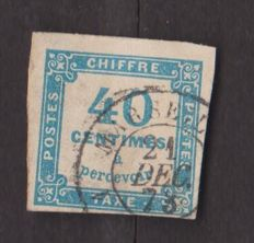 France 1871 - tax stamp 40c blue - Yvert tax no. 7