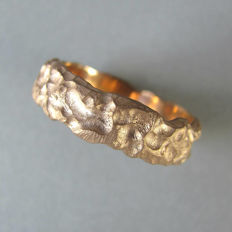 Artisan handmade rough matt Wedding Band Viking Ring in 18K Rose Gold plated Solid 925 Sterling Silver - Pristine