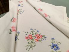 Italian manufacture. Handmade tablecloth Cross stitch. Near mint