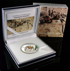Cook islands - 2 Dollars 2013 'Brazilian Wandering Spider' - silver