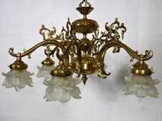Six armed French bronze chandelier, France, 1960s