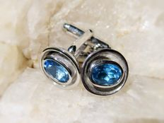 Handmade 925 Silver Cufflinks with Blue Topaz