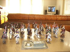 Starlux France early 20th lot of 30 riders and horses in lead